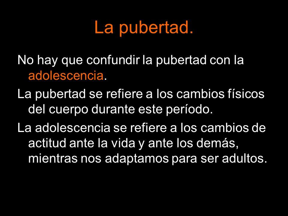 No hay que confundir la pubertad con la adolescencia. La pubertad se refiere a los cambios físicos del cuerpo durante este período. La adolescencia se