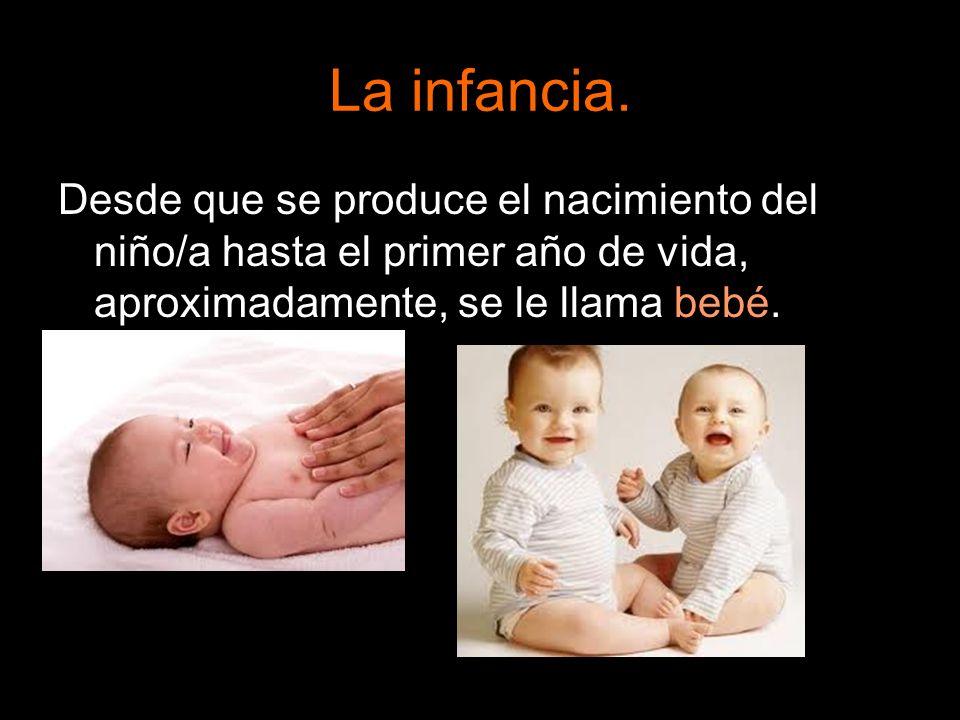 La infancia. Desde que se produce el nacimiento del niño/a hasta el primer año de vida, aproximadamente, se le llama bebé.