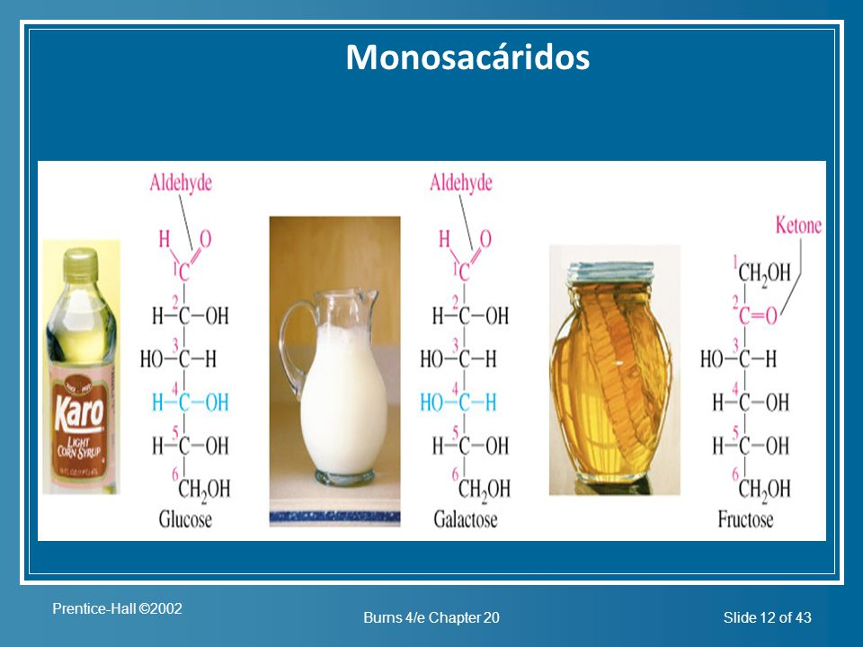 Prentice-Hall ©2002 Burns 4/e Chapter 20Slide 12 of 43 Insert figure 20.2 Monosacáridos