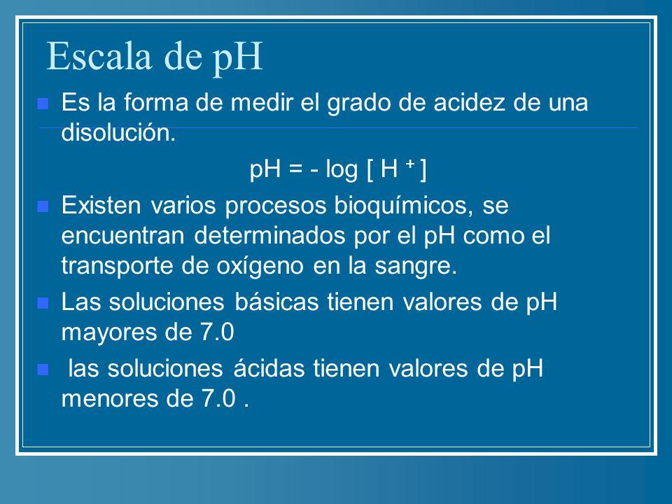 Escala de pH Es la forma de medir el grado de acidez de una disolución. pH = - log [ H + ] Existen varios procesos bioquímicos, se encuentran determin