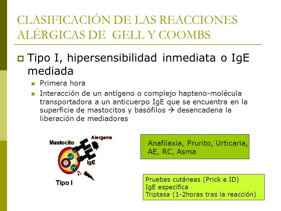 CLASIFICACIÓN DE LAS REACCIONES ALÉRGICAS DE GELL Y COOMBS Tipo I, hipersensibilidad inmediata o IgE mediada Primera hora Interacción de un antígeno o