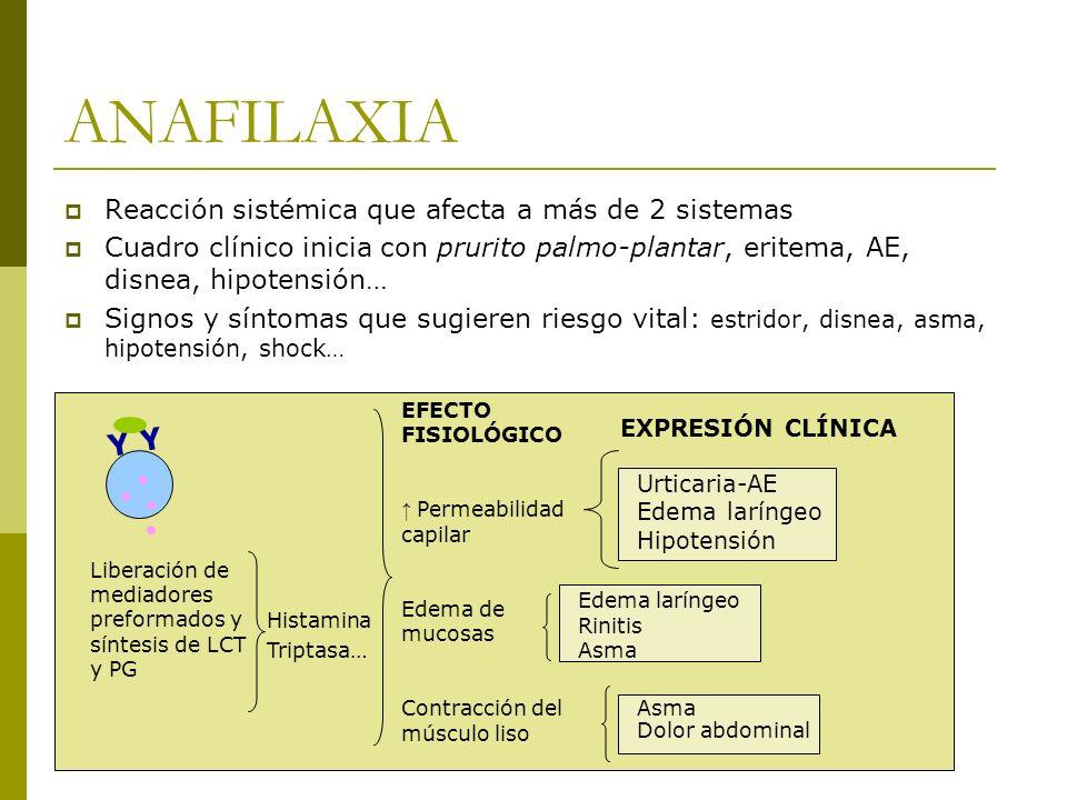ANAFILAXIA Reacción sistémica que afecta a más de 2 sistemas Cuadro clínico inicia con prurito palmo-plantar, eritema, AE, disnea, hipotensión… Signos