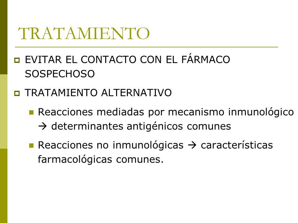 TRATAMIENTO EVITAR EL CONTACTO CON EL FÁRMACO SOSPECHOSO TRATAMIENTO ALTERNATIVO Reacciones mediadas por mecanismo inmunológico determinantes antigéni