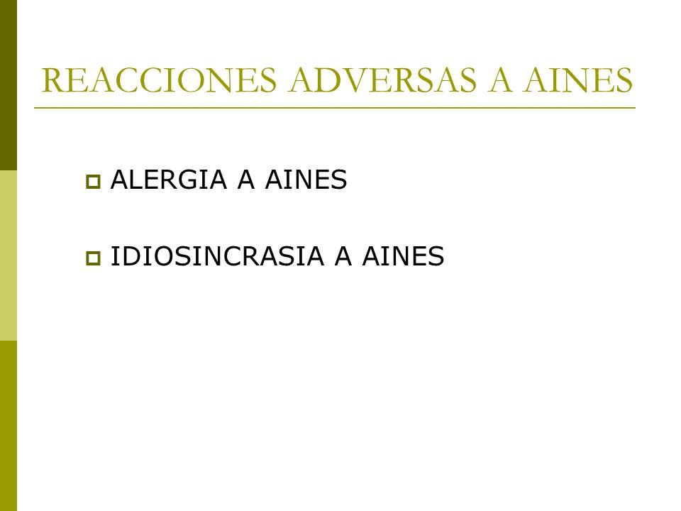 REACCIONES ADVERSAS A AINES ALERGIA A AINES IDIOSINCRASIA A AINES