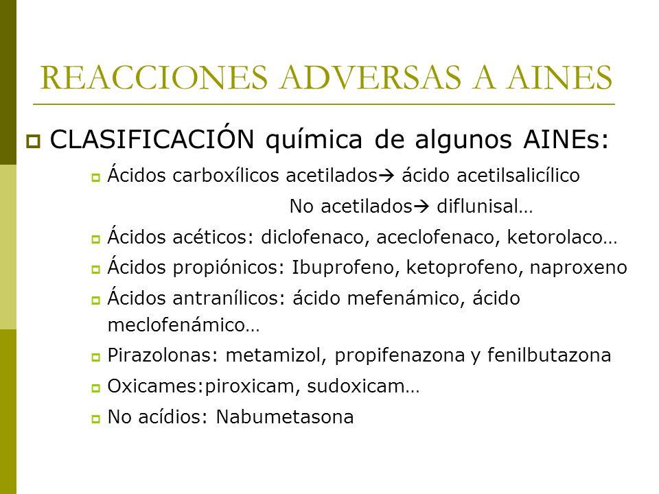 REACCIONES ADVERSAS A AINES CLASIFICACIÓN química de algunos AINEs: Ácidos carboxílicos acetilados ácido acetilsalicílico No acetilados diflunisal… Ác