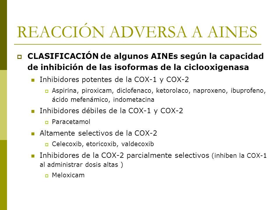 REACCIÓN ADVERSA A AINES CLASIFICACIÓN de algunos AINEs según la capacidad de inhibición de las isoformas de la ciclooxigenasa Inhibidores potentes de