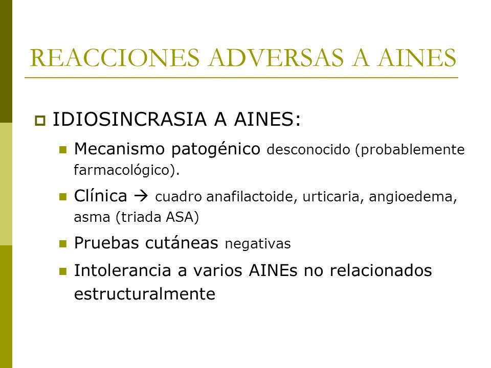 REACCIONES ADVERSAS A AINES IDIOSINCRASIA A AINES: Mecanismo patogénico desconocido (probablemente farmacológico). Clínica cuadro anafilactoide, urtic