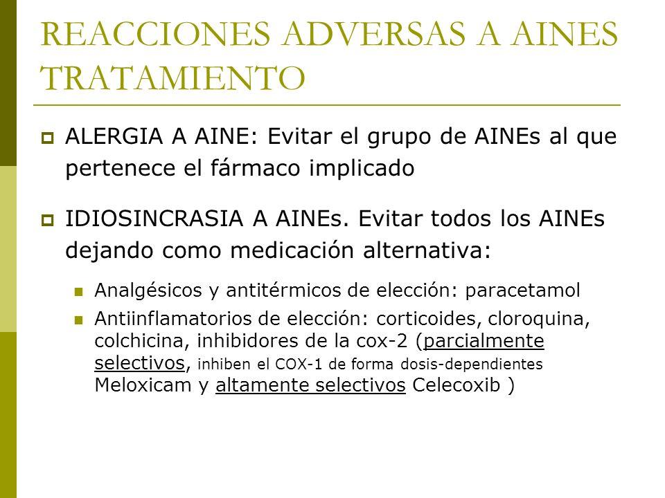 REACCIONES ADVERSAS A AINES TRATAMIENTO ALERGIA A AINE: Evitar el grupo de AINEs al que pertenece el fármaco implicado IDIOSINCRASIA A AINEs. Evitar t