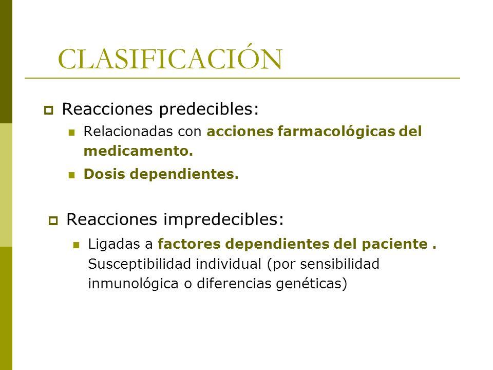 CLASIFICACIÓN Reacciones predecibles: Relacionadas con acciones farmacológicas del medicamento. Dosis dependientes. Reacciones impredecibles: Ligadas