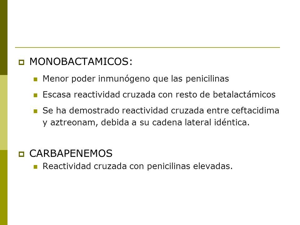 MONOBACTAMICOS: Menor poder inmunógeno que las penicilinas Escasa reactividad cruzada con resto de betalactámicos Se ha demostrado reactividad cruzada