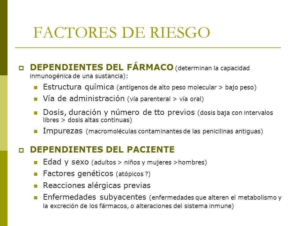 FACTORES DE RIESGO DEPENDIENTES DEL FÁRMACO (determinan la capacidad inmunogénica de una sustancia): Estructura química (antígenos de alto peso molecu