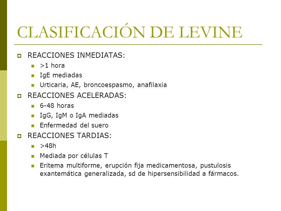 CLASIFICACIÓN DE LEVINE REACCIONES INMEDIATAS: >1 hora IgE mediadas Urticaria, AE, broncoespasmo, anafilaxia REACCIONES ACELERADAS: 6-48 horas IgG, Ig