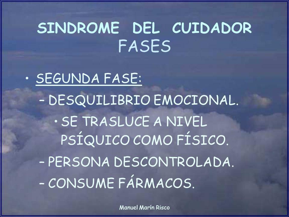 Manuel Marín Risco SINDROME DEL CUIDADOR FASES SEGUNDA FASE: –DESQUILIBRIO EMOCIONAL. SE TRASLUCE A NIVEL PSÍQUICO COMO FÍSICO. –PERSONA DESCONTROLADA
