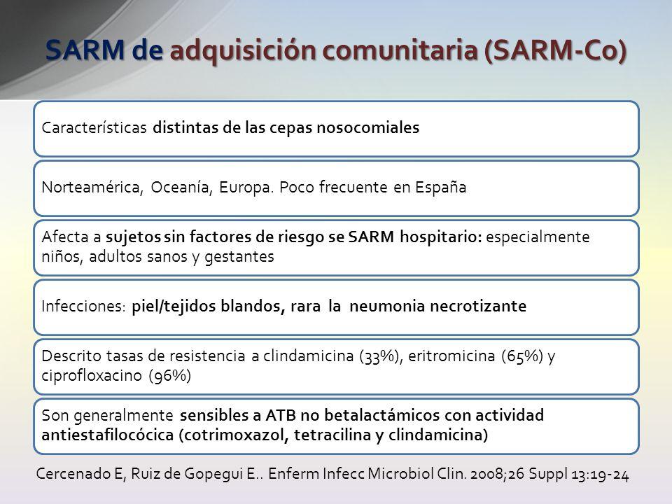 Características distintas de las cepas nosocomialesNorteamérica, Oceanía, Europa. Poco frecuente en España Afecta a sujetos sin factores de riesgo se