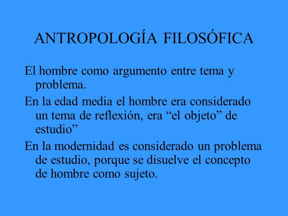 ANTROPOLOGÍA FILOSÓFICA El hombre como argumento entre tema y problema. En la edad media el hombre era considerado un tema de reflexión, era el objeto