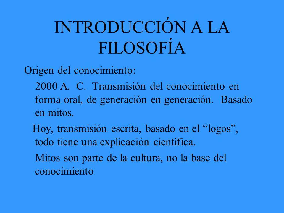 INTRODUCCIÓN A LA FILOSOFÍA Paso del Mito al Logos Es el cambio en la elaboración del conocimiento, al principio tenía una concepción de tipo religioso, después una concepción científica.