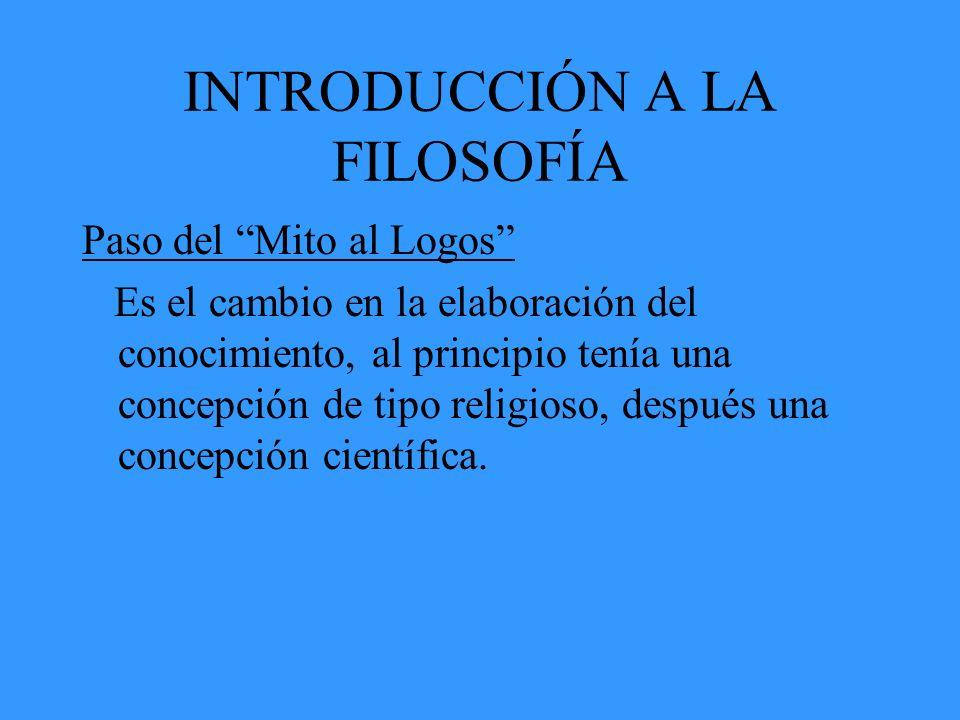 INTRODUCCIÓN A LA FILOSOFÍA Paso del Mito al Logos Es el cambio en la elaboración del conocimiento, al principio tenía una concepción de tipo religios