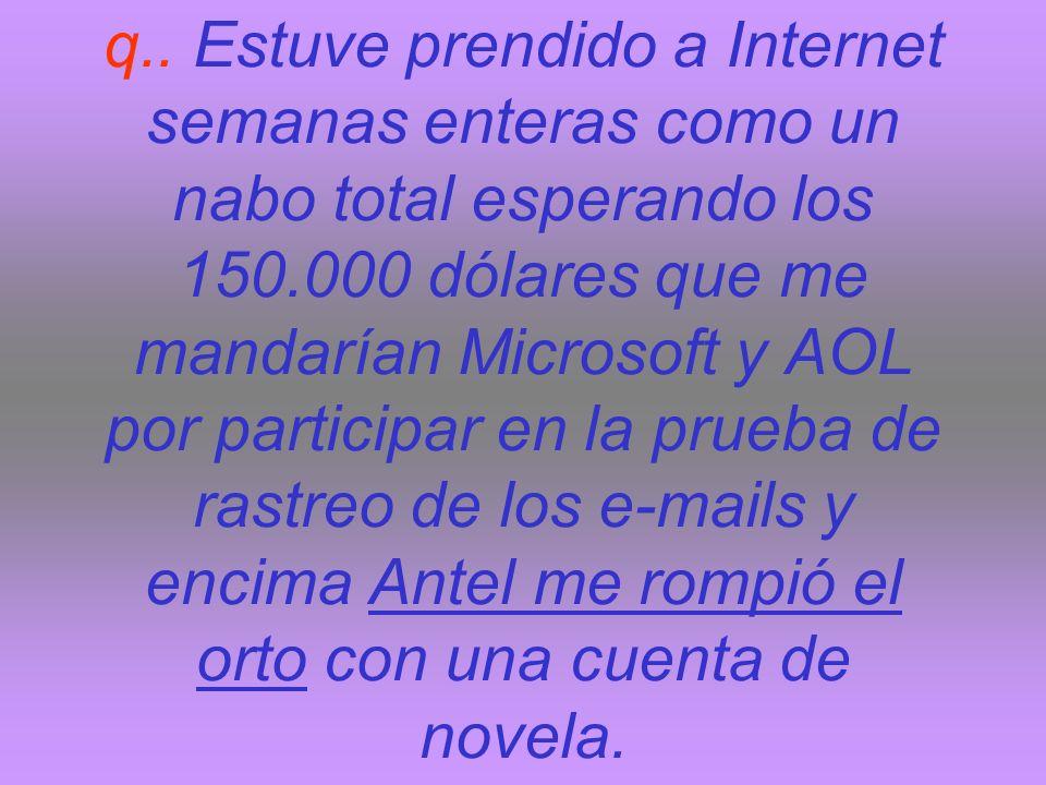 q.. Estuve prendido a Internet semanas enteras como un nabo total esperando los 150.000 dólares que me mandarían Microsoft y AOL por participar en la
