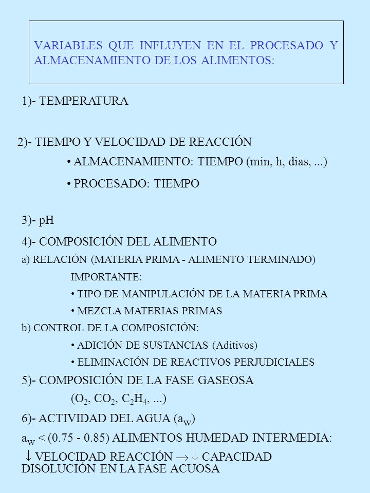 VARIABLES QUE INFLUYEN EN EL PROCESADO Y ALMACENAMIENTO DE LOS ALIMENTOS: 1)- TEMPERATURA 2)- TIEMPO Y VELOCIDAD DE REACCIÓN ALMACENAMIENTO: TIEMPO (m