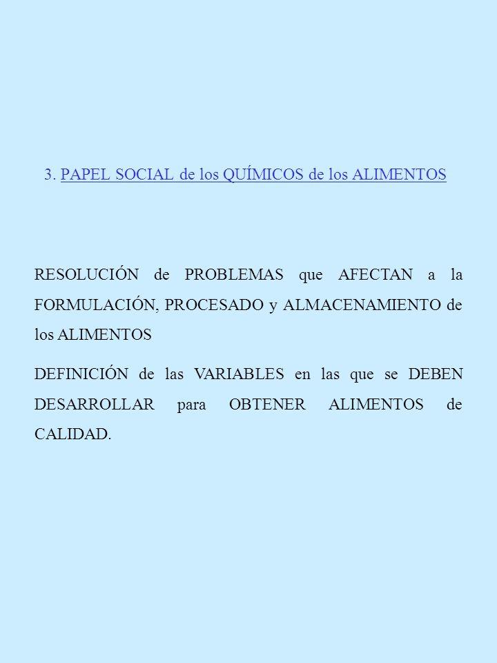 3. PAPEL SOCIAL de los QUÍMICOS de los ALIMENTOS RESOLUCIÓN de PROBLEMAS que AFECTAN a la FORMULACIÓN, PROCESADO y ALMACENAMIENTO de los ALIMENTOS DEF