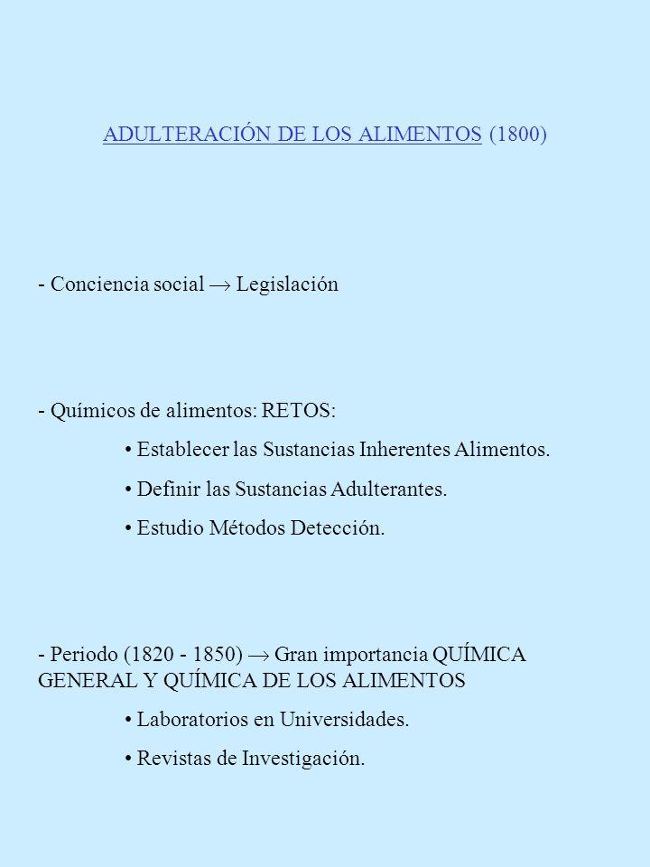 ADULTERACIÓN DE LOS ALIMENTOS (1800) - Conciencia social Legislación - Químicos de alimentos: RETOS: Establecer las Sustancias Inherentes Alimentos. D