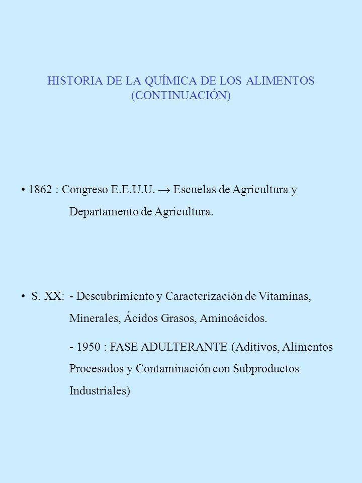 HISTORIA DE LA QUÍMICA DE LOS ALIMENTOS (CONTINUACIÓN) 1862 : Congreso E.E.U.U. Escuelas de Agricultura y Departamento de Agricultura. S. XX: - Descub