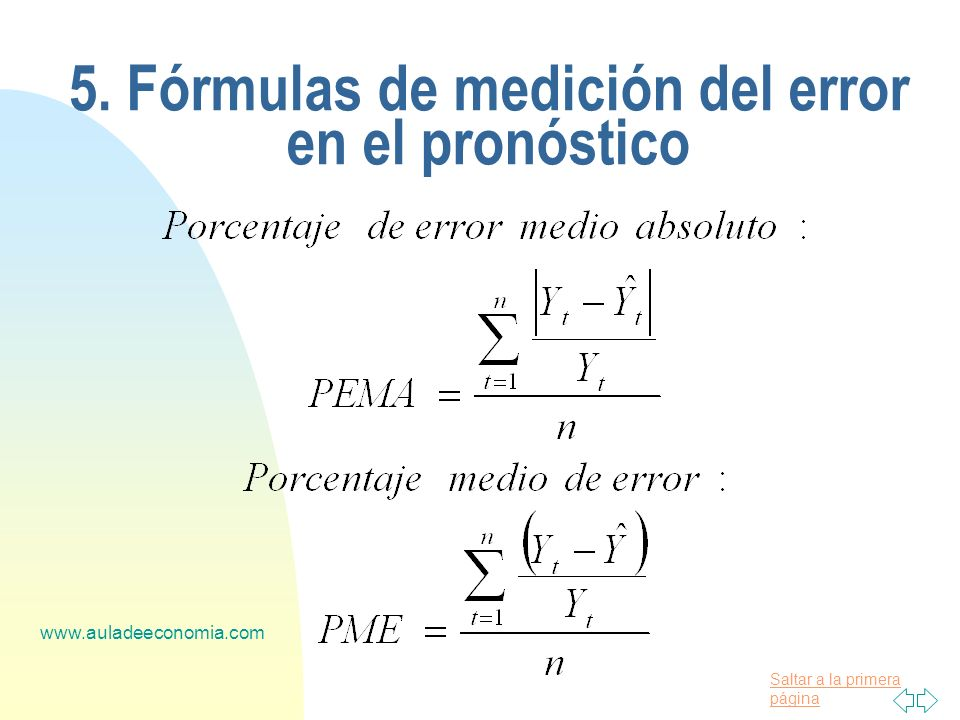 Saltar a la primera página www.auladeeconomia.com 5. Fórmulas de medición del error en el pronóstico