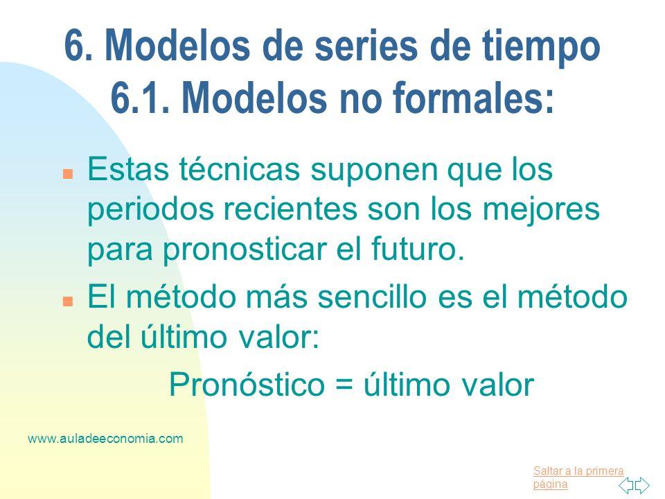 Saltar a la primera página www.auladeeconomia.com 6. Modelos de series de tiempo 6.1. Modelos no formales: n Estas técnicas suponen que los periodos r