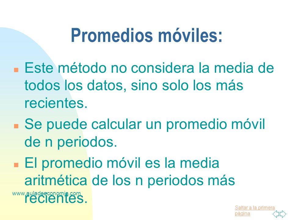 Saltar a la primera página www.auladeeconomia.com Promedios móviles: n Este método no considera la media de todos los datos, sino solo los más recient