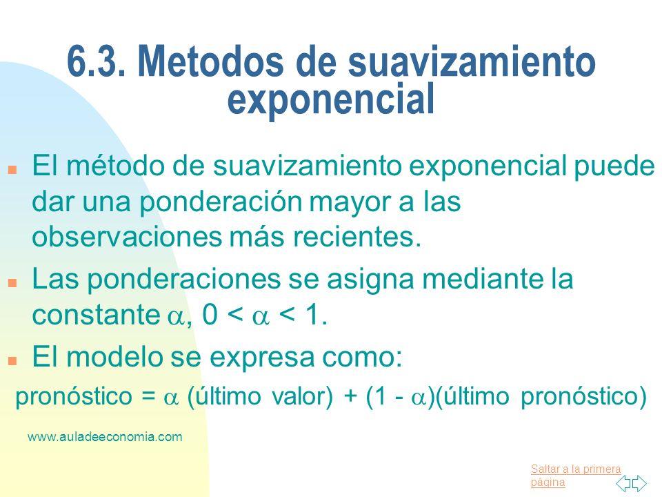 Saltar a la primera página www.auladeeconomia.com 6.3. Metodos de suavizamiento exponencial n El método de suavizamiento exponencial puede dar una pon