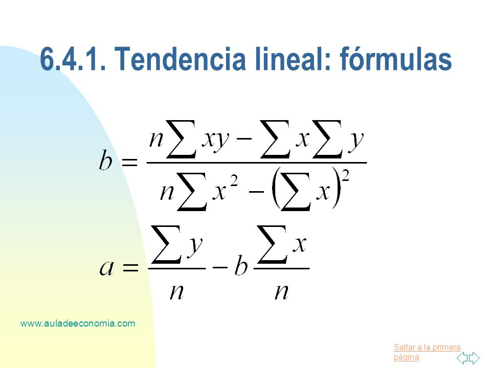 Saltar a la primera página www.auladeeconomia.com 6.4.1. Tendencia lineal: fórmulas