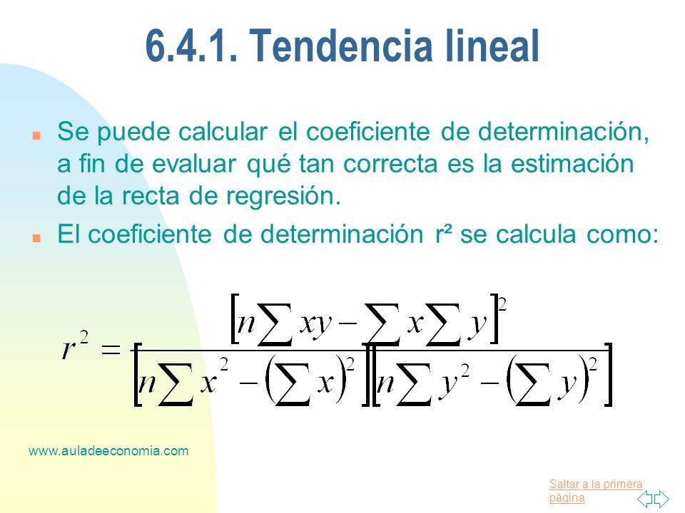 Saltar a la primera página www.auladeeconomia.com 6.4.1. Tendencia lineal n Se puede calcular el coeficiente de determinación, a fin de evaluar qué ta