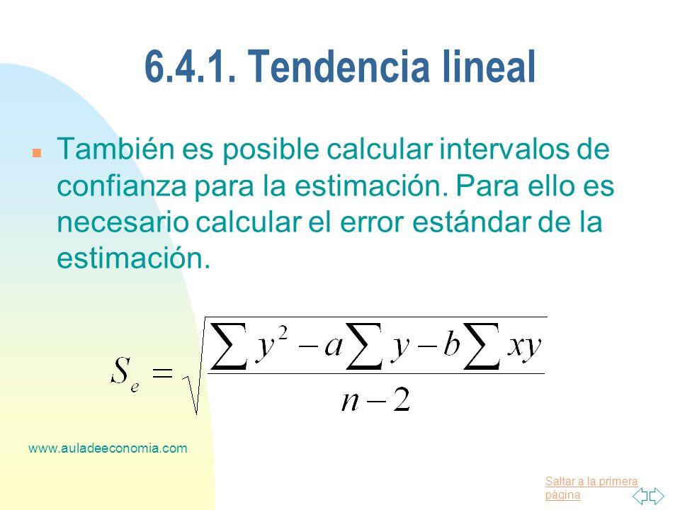 Saltar a la primera página www.auladeeconomia.com 6.4.1. Tendencia lineal n También es posible calcular intervalos de confianza para la estimación. Pa
