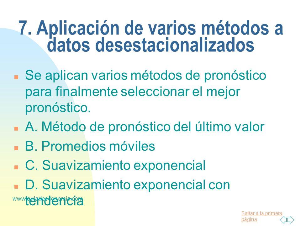 Saltar a la primera página www.auladeeconomia.com 7. Aplicación de varios métodos a datos desestacionalizados n Se aplican varios métodos de pronóstic