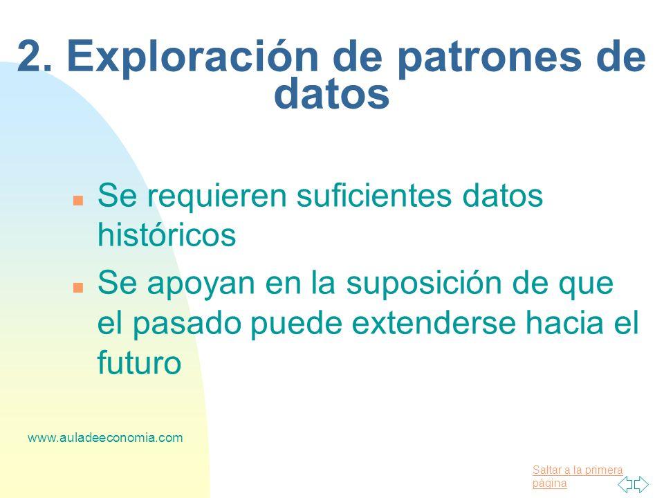 Saltar a la primera página www.auladeeconomia.com 2. Exploración de patrones de datos n Se requieren suficientes datos históricos n Se apoyan en la su