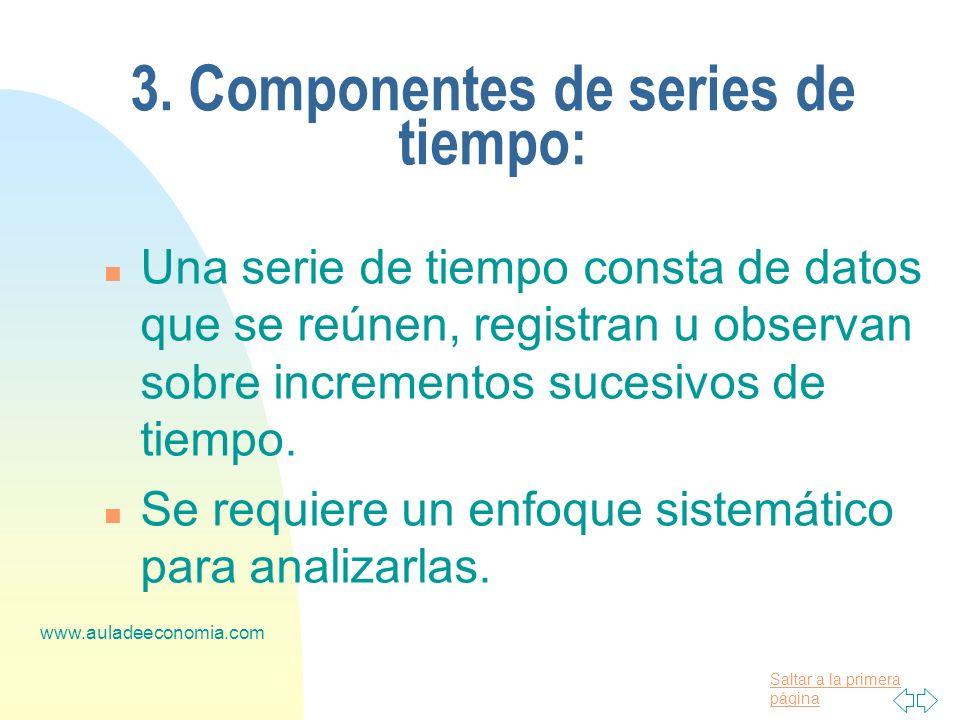 Saltar a la primera página www.auladeeconomia.com 3. Componentes de series de tiempo: n Una serie de tiempo consta de datos que se reúnen, registran u