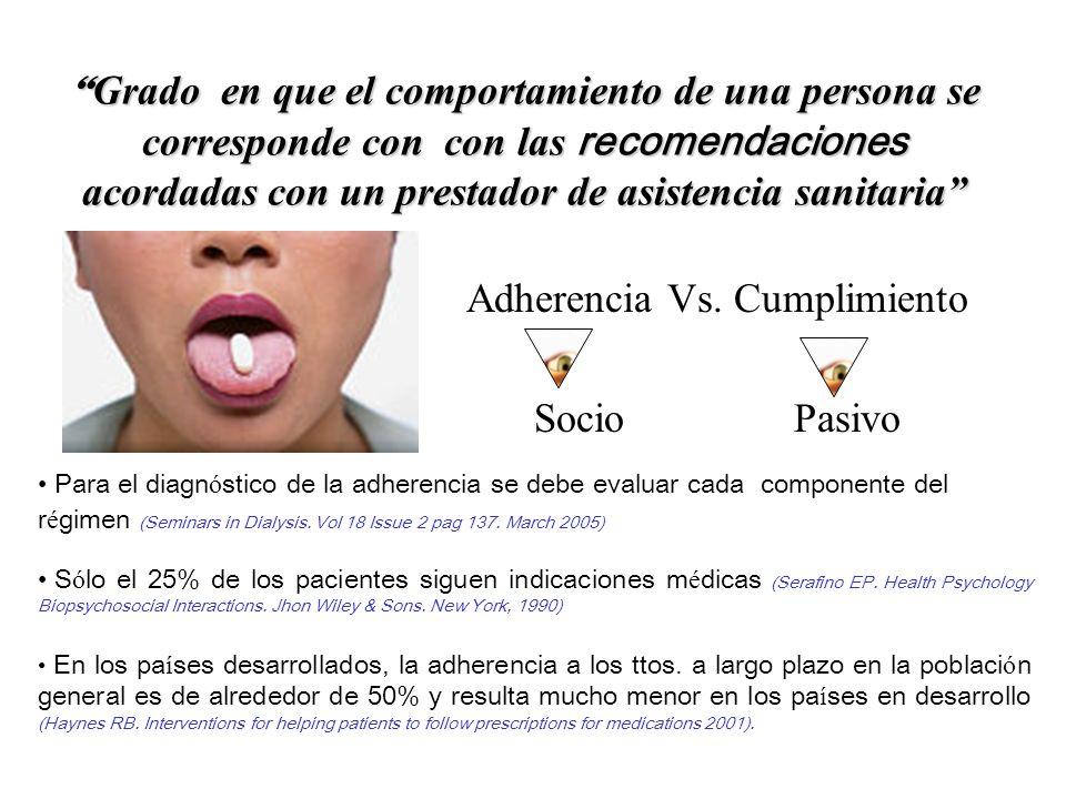 Grado en que el comportamiento de una persona se corresponde con con las recomendaciones acordadas con un prestador de asistencia sanitaria Grado en q