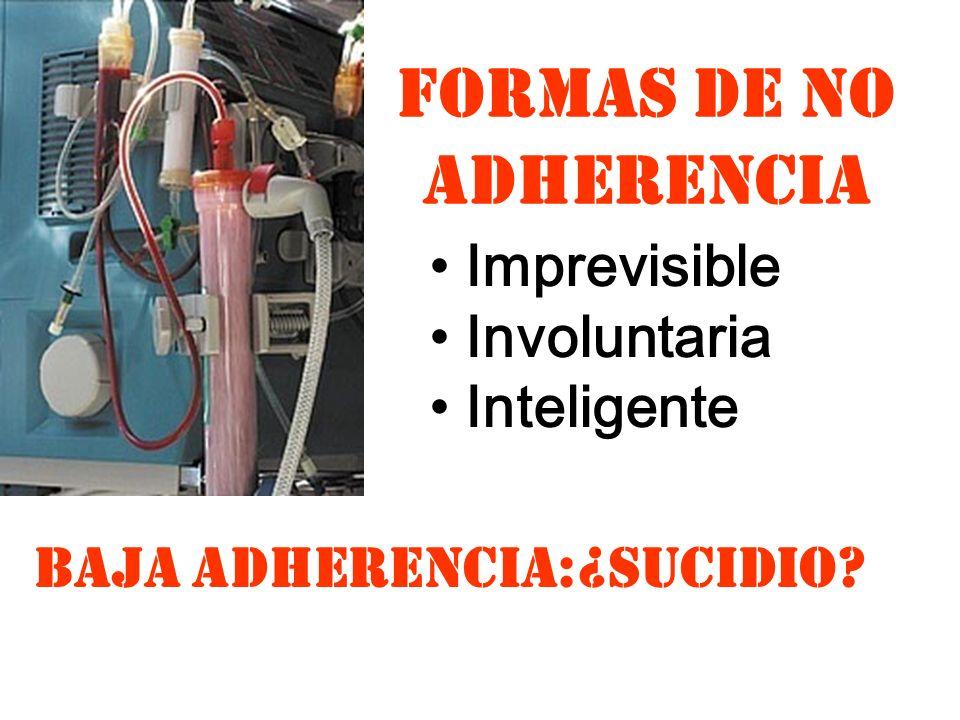 FORMAS DE NO ADHERENCIA Imprevisible Involuntaria Inteligente BAJA ADHERENCIA:¿SUCIDIO?