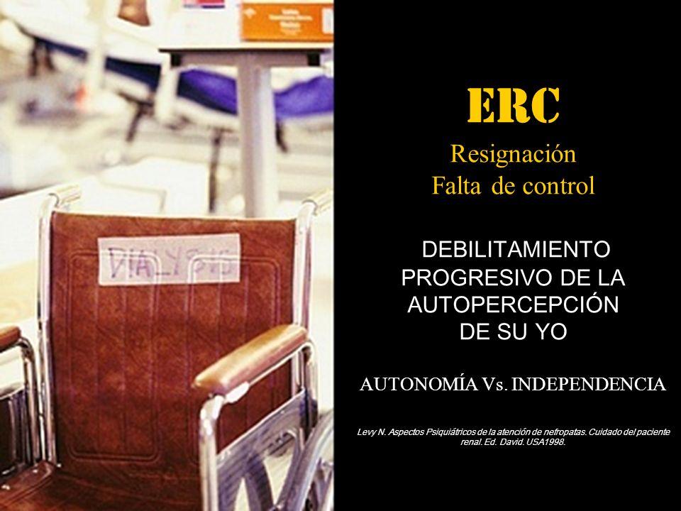 ERC Resignación Falta de control DEBILITAMIENTO PROGRESIVO DE LA AUTOPERCEPCIÓN DE SU YO AUTONOMÍA Vs. INDEPENDENCIA Levy N. Aspectos Psiquiátricos de