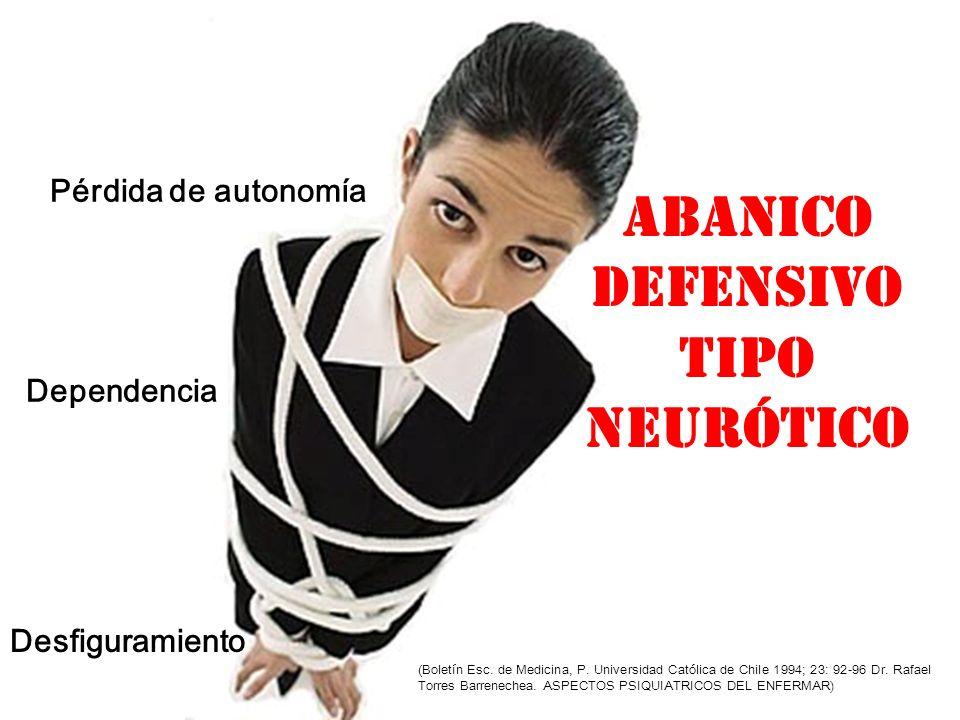 Pérdida de autonomía Dependencia Desfiguramiento ABANICO DEFENSIVO TIPO NEURÓTICO (Boletín Esc. de Medicina, P. Universidad Católica de Chile 1994; 23