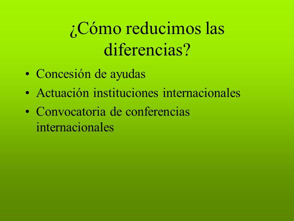 ¿Cómo reducimos las diferencias? Concesión de ayudas Actuación instituciones internacionales Convocatoria de conferencias internacionales