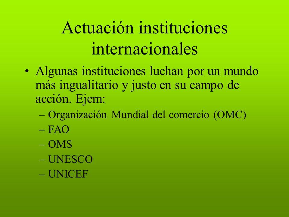Actuación instituciones internacionales Algunas instituciones luchan por un mundo más ingualitario y justo en su campo de acción. Ejem: –Organización