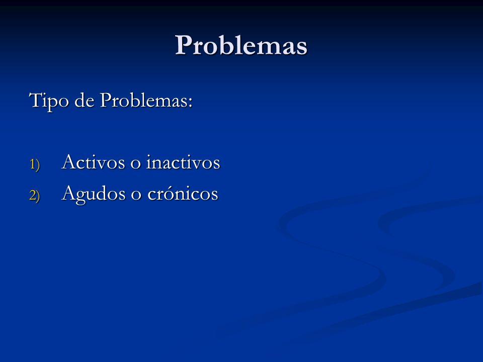 Problemas Tipo de Problemas: 1) Activos o inactivos 2) Agudos o crónicos