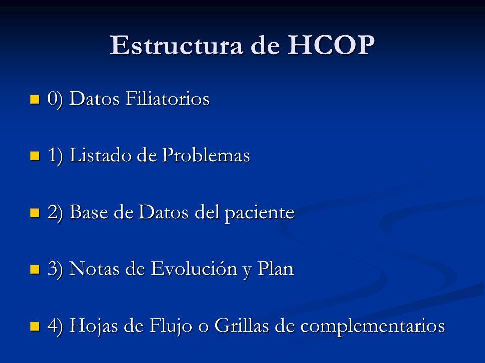 Estructura de HCOP 0) Datos Filiatorios 0) Datos Filiatorios 1) Listado de Problemas 1) Listado de Problemas 2) Base de Datos del paciente 2) Base de
