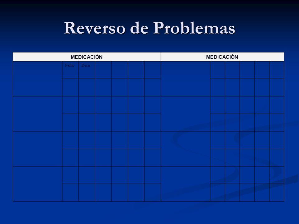 Reverso de Problemas MEDICACIÓN FechaDosis