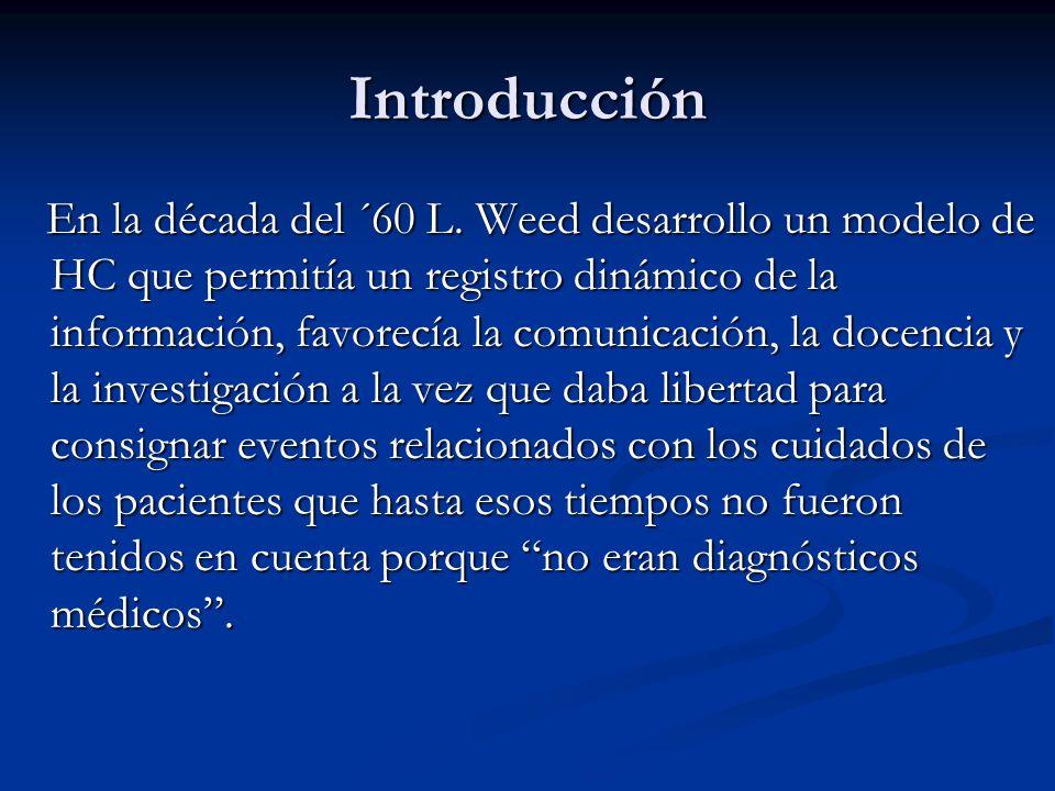 Introducción A dichos eventos los definió como Problemas y a la historia la denominó Historia Clínica Orientada a Problemas ( HCOP).