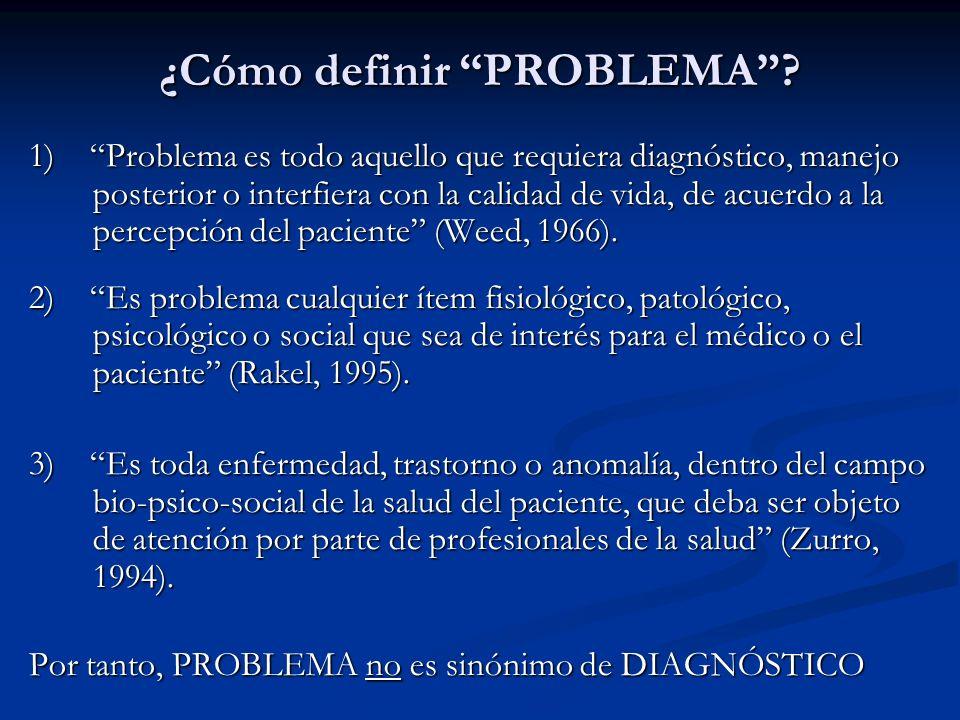 ¿Cómo definir PROBLEMA? 1) Problema es todo aquello que requiera diagnóstico, manejo posterior o interfiera con la calidad de vida, de acuerdo a la pe