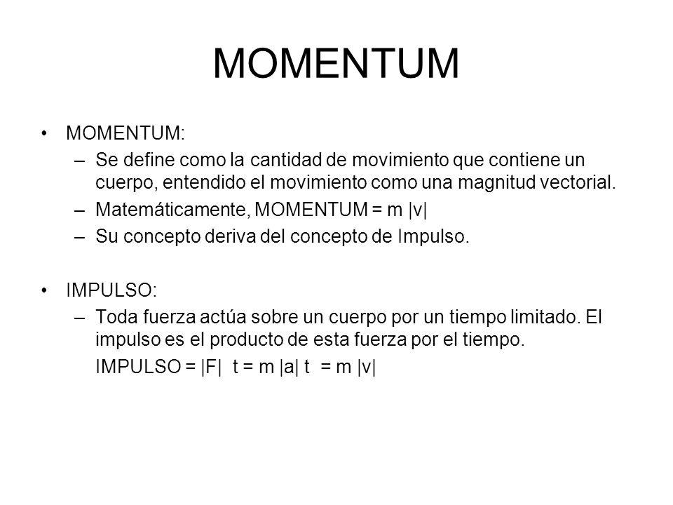 MOMENTUM MOMENTUM: –Se define como la cantidad de movimiento que contiene un cuerpo, entendido el movimiento como una magnitud vectorial. –Matemáticam