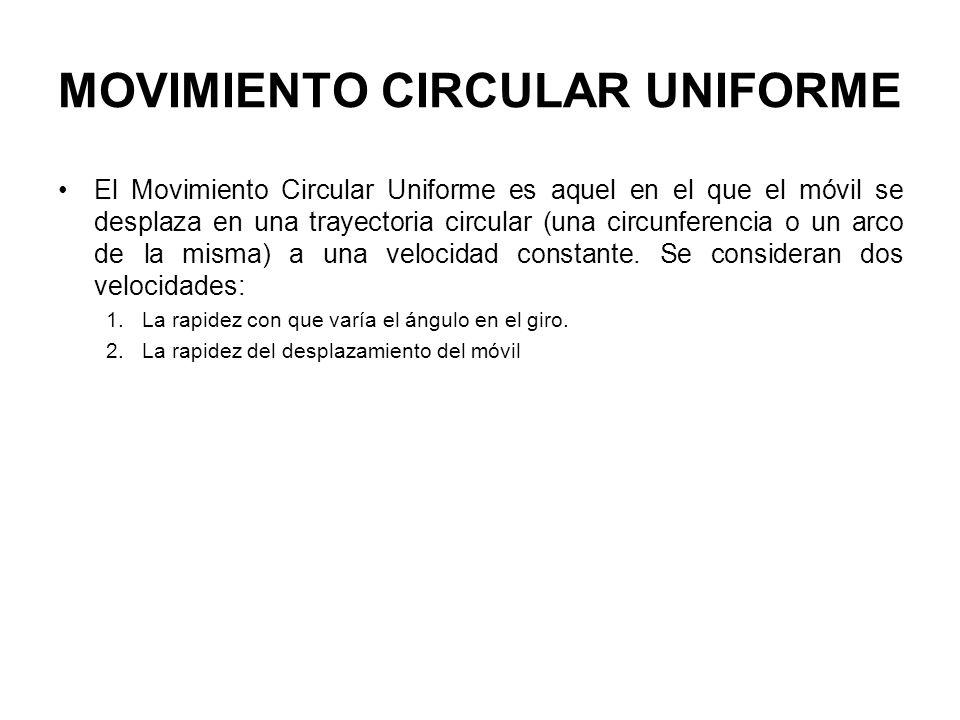 MOVIMIENTO CIRCULAR UNIFORME El Movimiento Circular Uniforme es aquel en el que el móvil se desplaza en una trayectoria circular (una circunferencia o