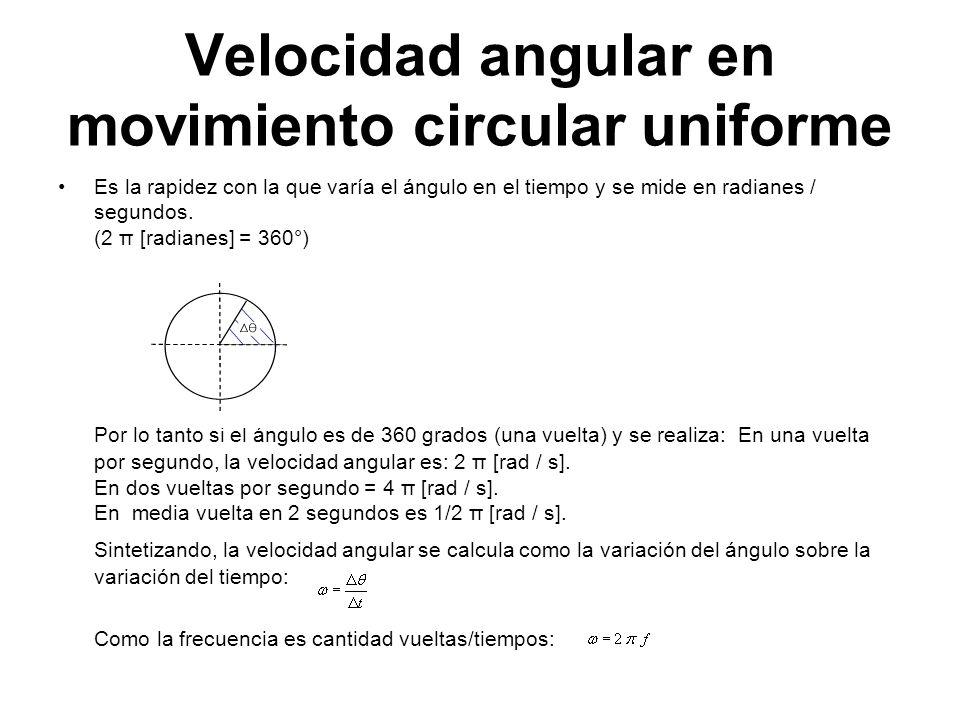 Velocidad angular en movimiento circular uniforme Es la rapidez con la que varía el ángulo en el tiempo y se mide en radianes / segundos. (2 π [radian